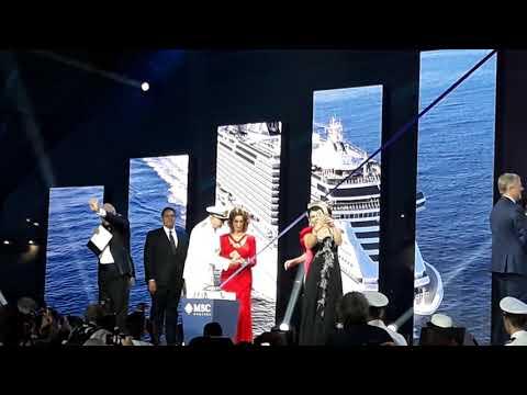 Il momento del varo della Msc Seaview, madrina Sophia Loren