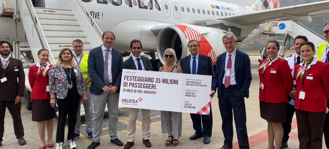 35 milioni di pax, Volotea taglia il traguardo a Palermo